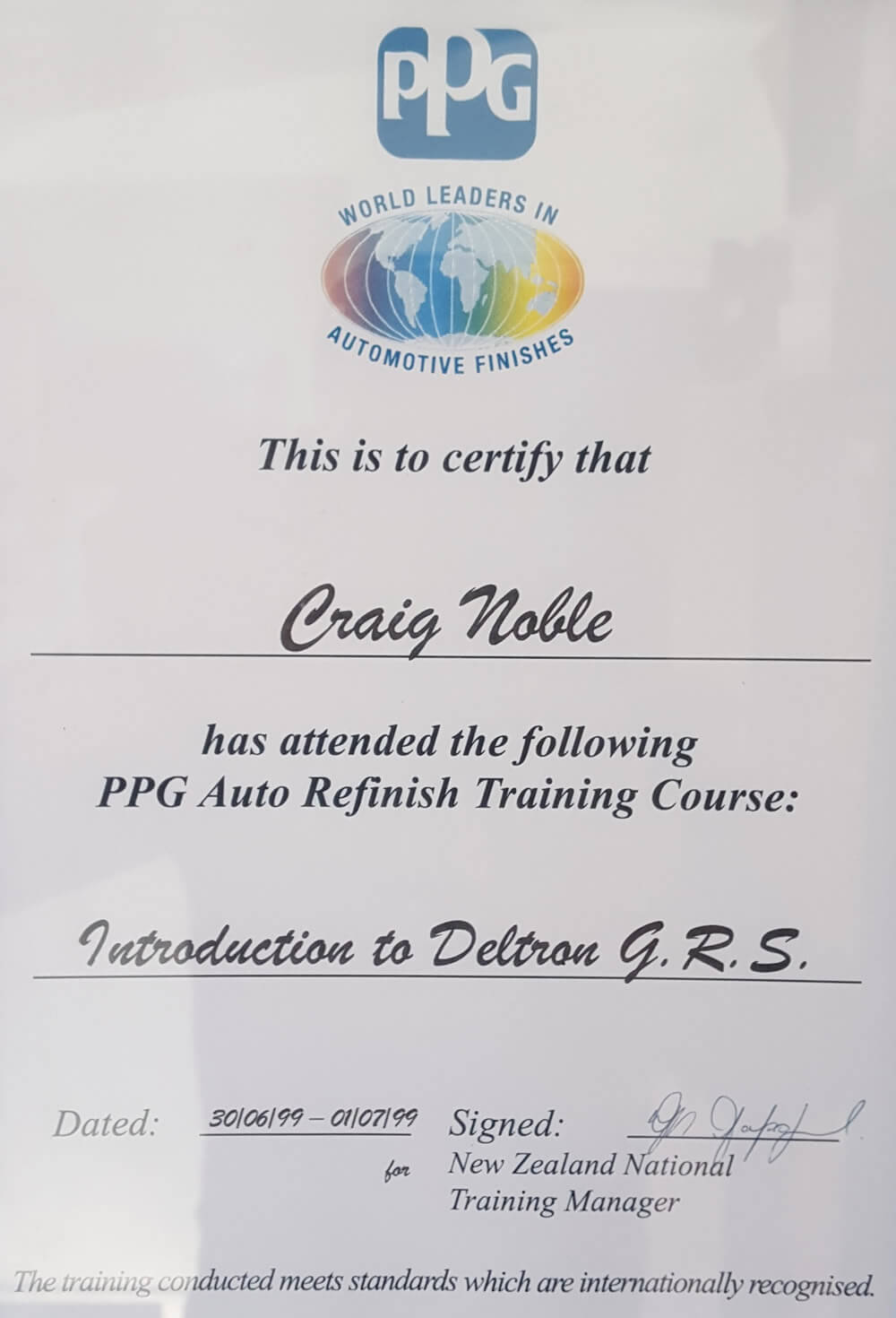PPG Automotive Refinish Training Certificate Of Craig Noble Marlborough NZ