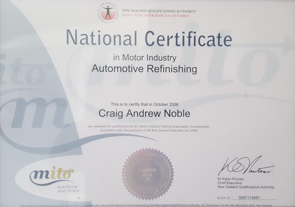National Certificate In Automotive Refinishing Of Craig Noble Marlborough NZ